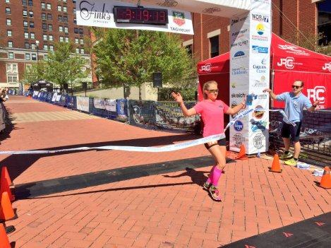 Amy Ostrofe of Suffolk, VA, women's full marathon winner